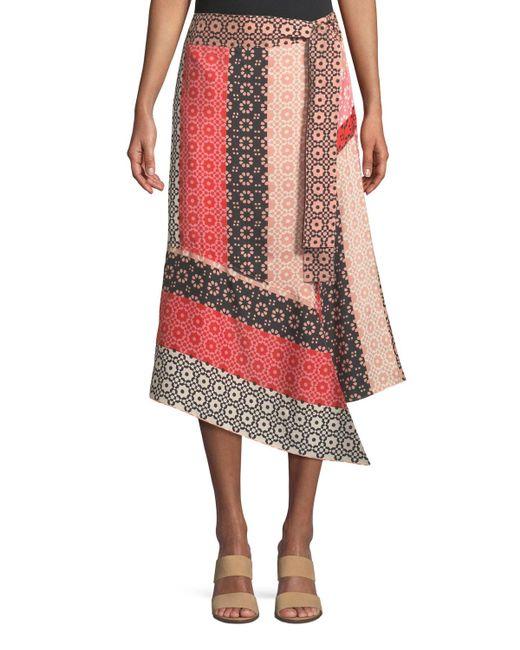 988a396e26 10 Crosby Derek Lam - Pink Asymmetrical Geo-print Silk Wrap Skirt - Lyst
