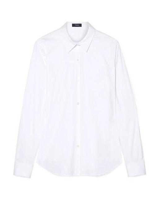 f1b5572110a Theory - White Tenia Stretch Cotton-blend Poplin Shirt - Lyst ...