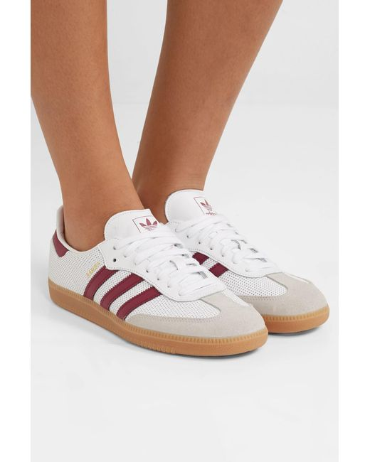 lowest price 90f10 841f7 ... Adidas Originals - White Samba Og Perforated Leather And Suede Sneakers  - Lyst ...