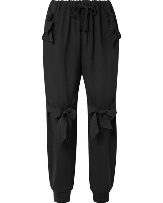 Simone Rocha - Black Bow-embellished Stretch-jersey Track Pants - Lyst