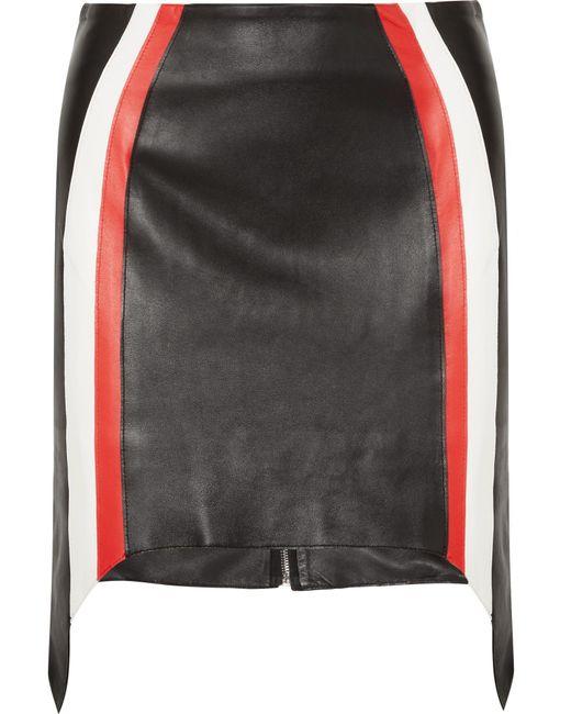 Mugler   Black Striped Leather Mini Skirt   Lyst
