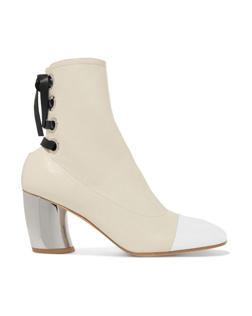 Proenza Schouler - White Lace-up Glossed Textured-leather Ankle Boots - Lyst