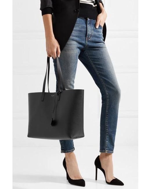 f6efc744859 ... Saint Laurent - Black Shopping Large Textured-leather Tote - Lyst ...