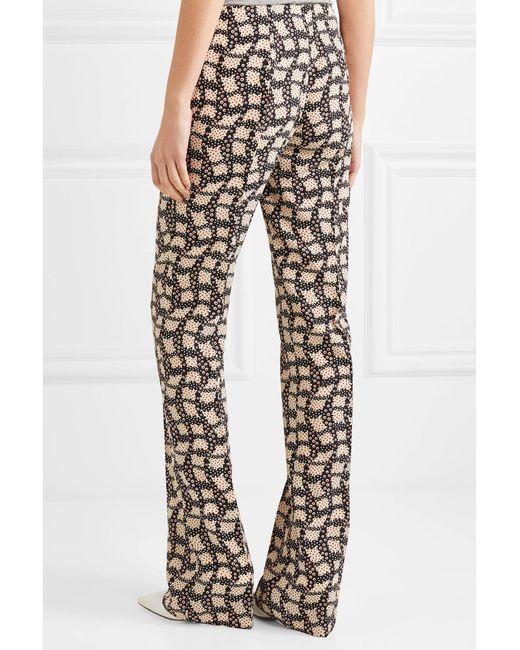 Printed Silk Crepe De Chine Flared Pants - Black Prada Sast For Sale Ul0yAdKm6