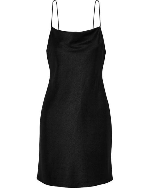 Alice + Olivia | Black Harmony Satin Mini Dress | Lyst