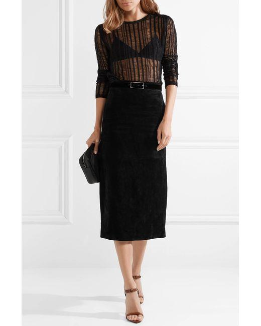 c3070de4d7 ... Saint Laurent - Black Suede Midi Skirt - Lyst ...
