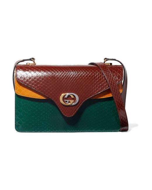 Gucci - Multicolor Tiger Small Color-block Python Shoulder Bag - Lyst ... 05ae0026ab289