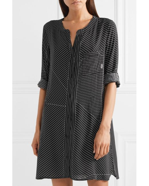 City Vibe Pinstriped Washed-satin Nightdress - Black DKNY Cheap Sneakernews Buy Cheap Supply 9cYYLya7