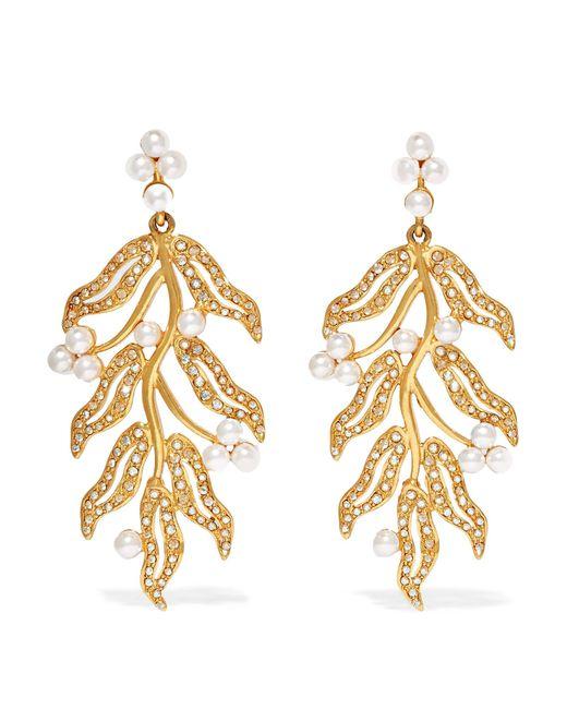 Oscar de la Renta | Metallic Gold-plated, Swarovski Crystal And Faux Pearl Clip Earrings | Lyst