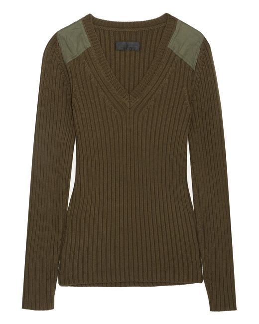 Peyton Ribbed Cotton And Cashmere-blend Sweater - Green Nili Lotan Free Shipping Marketable Aq2QQduV