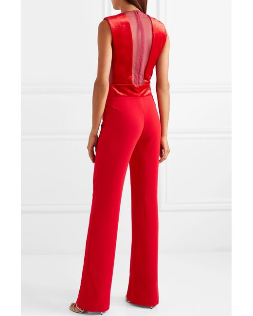 9694422cb75b ... Galvan - Red Gwyneth Velvet And Tulle-paneled Crepe Jumpsuit - Lyst ...