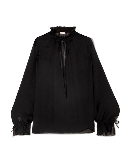 9ae82f19 Saint Laurent - Black Ruffled Georgette Blouse - Lyst ...