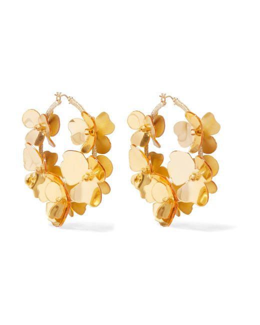 Oscar de la Renta - Metallic Gold-tone, Acetate And Bead Hoop Earrings - Lyst