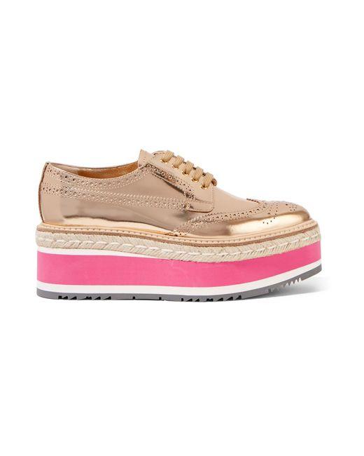 Prada | Pink Metallic Leather Brogues | Lyst