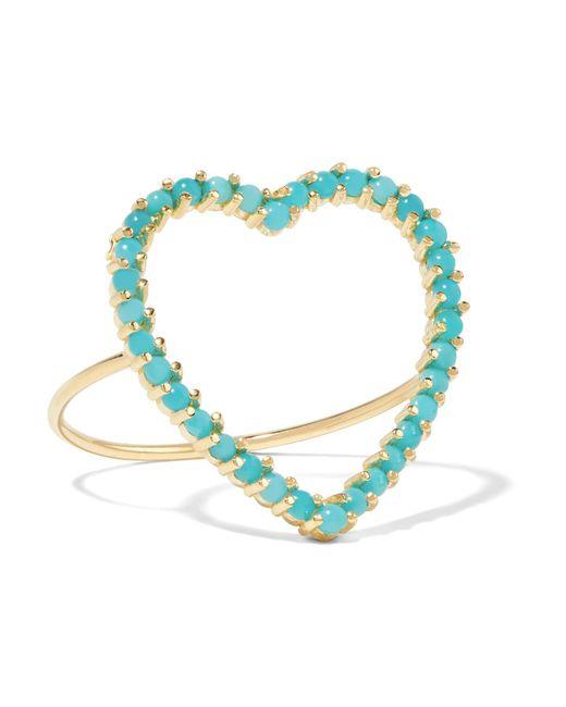 Jennifer Meyer | Metallic Open Heart 18-karat Gold Turquoise Ring | Lyst