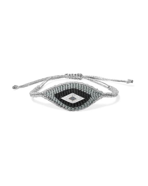 Diane Kordas | Metallic Evil Eye Woven, Diamond And Sapphire Bracelet | Lyst