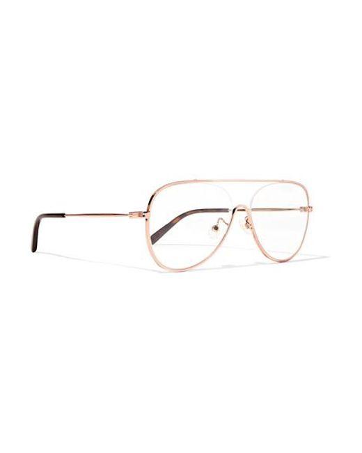 0b540f3d3eb2 ... Stella McCartney - Metallic Aviator-style Rose Gold-tone Optical Glasses  - Lyst ...