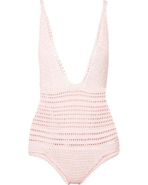 She Made Me - Pink Lalita Crocheted Cotton Swimsuit - Lyst