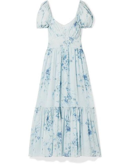 7433c4d8eea7 LoveShackFancy - Blue Angie Gathered Floral-print Silk-georgette Maxi Dress  - Lyst ...