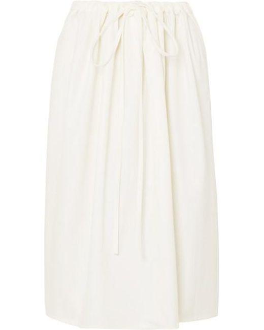 f785ce62e9 Atlantique Ascoli - White Cottage Ruched Cotton-poplin Skirt - Lyst ...