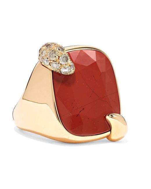 Pomellato - Metallic Ritratto 18-karat Rose Gold, Jasper And Diamond Ring - Lyst