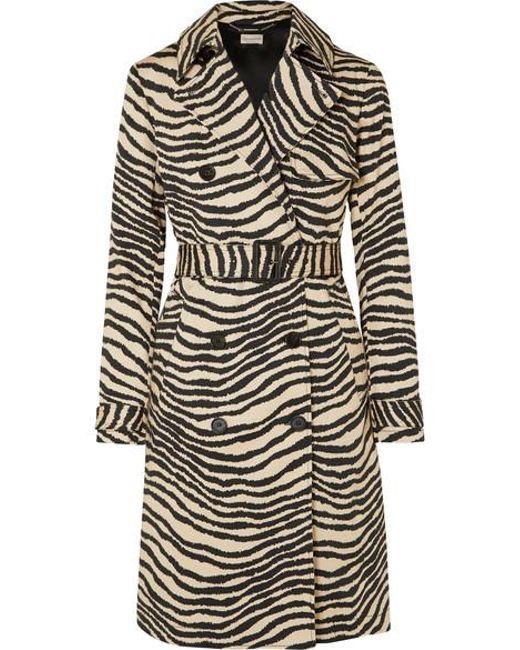 45bbffa6f7b By Malene Birger - Multicolor Rainie Zebra-print Belted Cotton-gabardine Trench  Coat ...