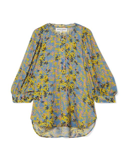 Apiece Apart - Yellow Everlasting Printed Voile Blouse - Lyst
