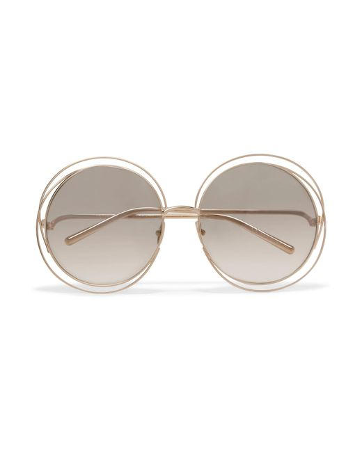 Chloé | Metallic Carlina Round-frame Gold-plated Sunglasses | Lyst