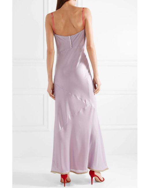 Beaded Two-tone Satin Maxi Dress - Lilac Acne Studios RoHa2
