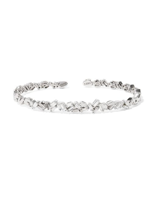 Suzanne Kalan - Metallic 18-karat White Gold Diamond Cuff - Lyst