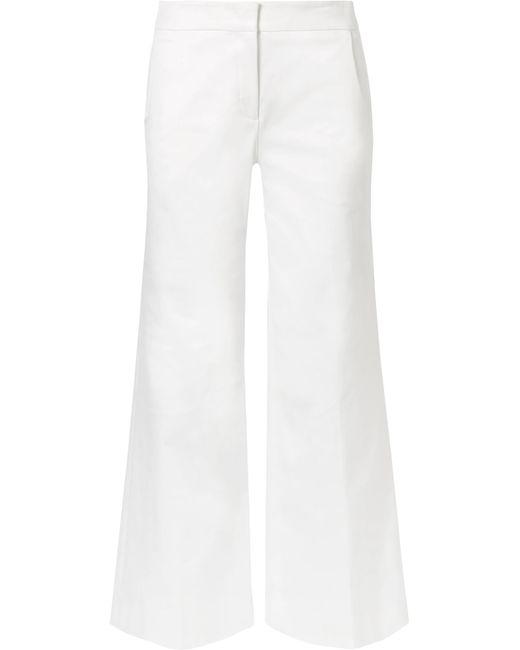 Derek Lam - White Cropped Stretch Cotton-blend Wide-leg Pants - Lyst