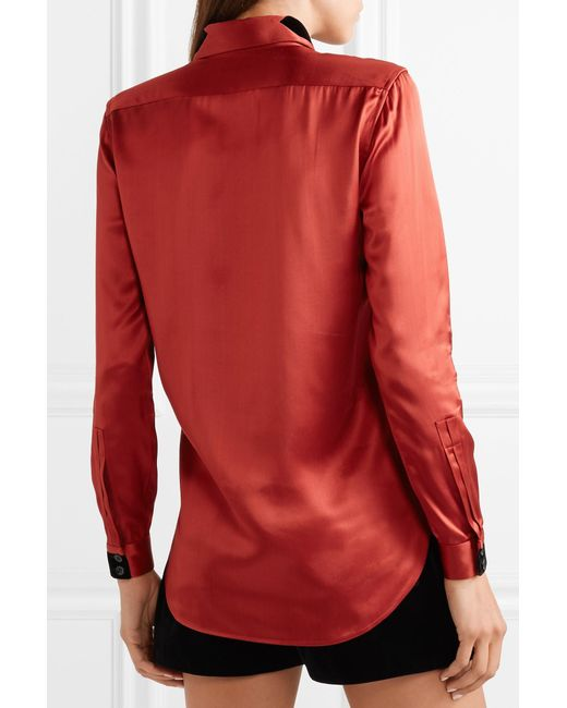 c5847eaf9052b3 ... Saint Laurent - Red Velvet-trimmed Satin Blouse - Lyst ...
