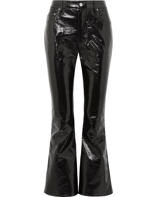 Beaufille - Black Veritas Cropped Vinyl Flared Pants - Lyst
