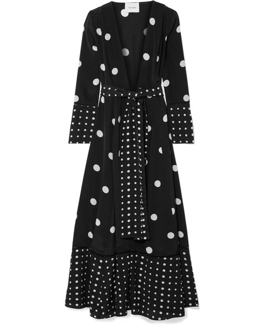 We Are Leone - Black Polka-dot Silk Crepe De Chine Robe - Lyst