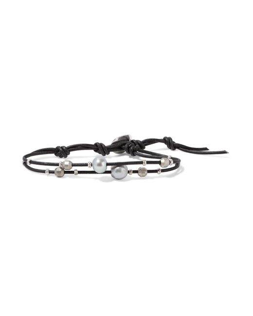 Chan Luu   Black Leather, Silver And Pearl Bracelet   Lyst
