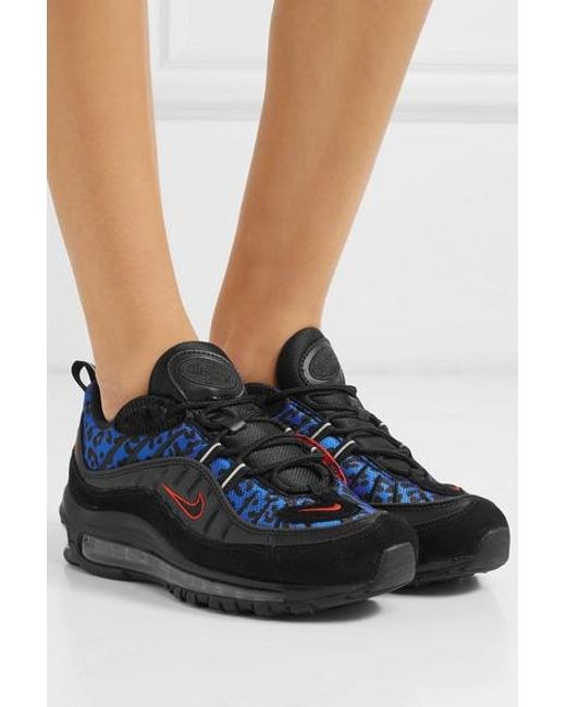 caaf905ac60f ... Nike - Multicolor Air Max 98 Calf Hair-trimmed Mesh, Leather And Suede  Sneakers ...