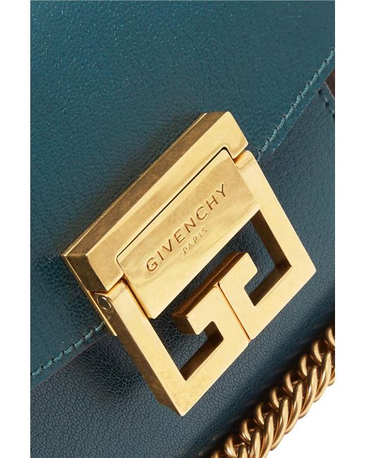 Gv3 Mini Two-tone Suede And Textured-leather Shoulder Bag - Blue Givenchy