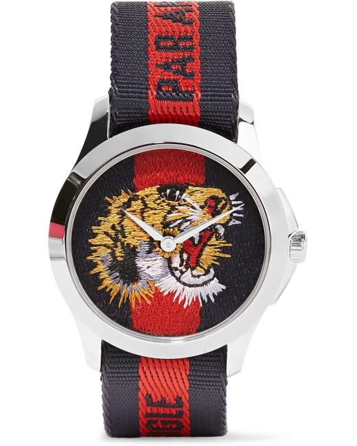 Gucci - Metallic Striped Canvas And Stainless Steel Watch - Lyst