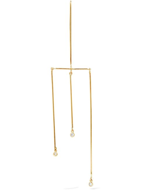 Grace Lee - Metallic Tri-linear Whisper Mobile 14-karat Gold Diamond Earring - Lyst