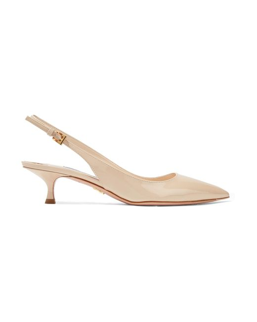 Prada - Natural Patent-leather Slingback Pumps - Lyst
