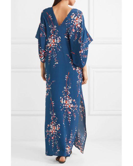 Beatriz Floral-print Silk Crepe De Chine Maxi Dress - Navy Jaline qAKg4j7