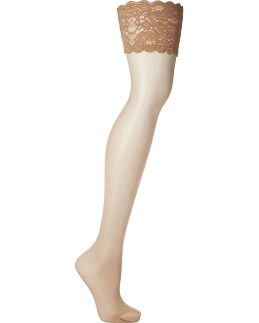 Wolford - Blue Satin Touch 20 Denier Stay-up Stockings - Lyst