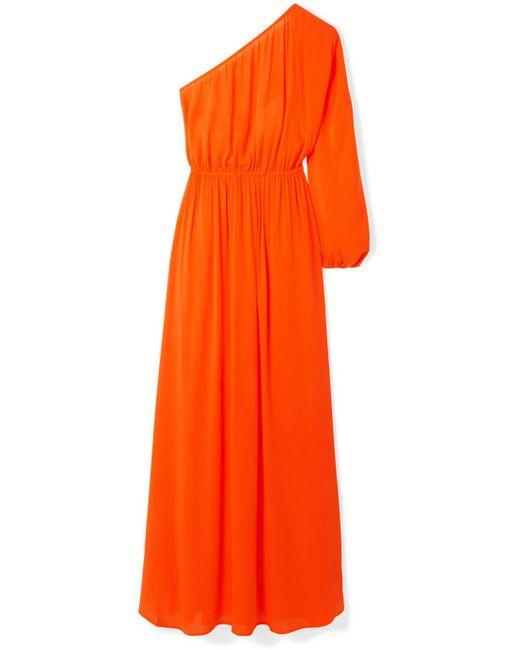 Mara Hoffman - Orange Vera One-shoulder Crinkled-voile Maxi Dress - Lyst