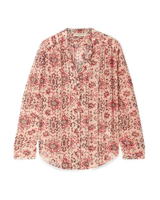 Vanessa Bruno - Red Cunac Printed Silk-crepon Blouse - Lyst