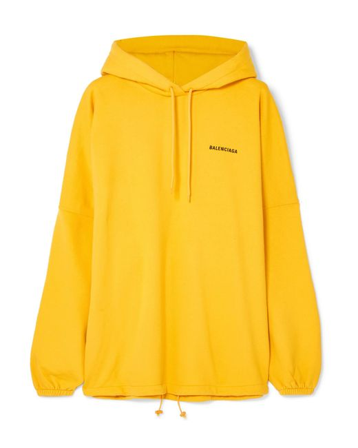 Balenciaga - Yellow Oversized Embroidered Cotton-blend Jersey Hooded Top - Lyst