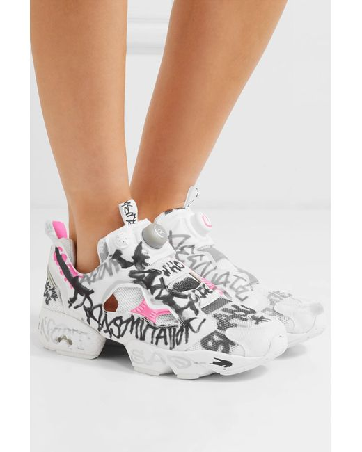 ... Vetements - White + Reebok Instapump Fury Printed Neoprene And Mesh  Sneakers - Lyst ... 3a89380c6