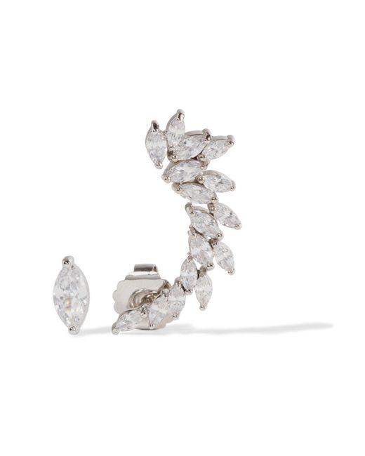 Kenneth Jay Lane | Metallic Silver-tone Cubic Zirconia Earrings | Lyst