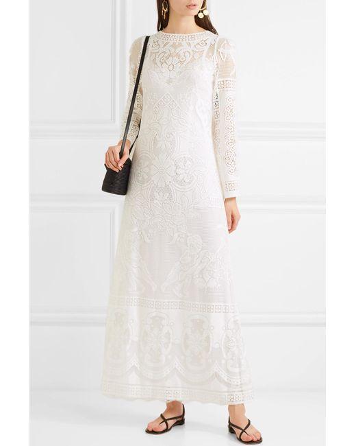 fc17b80194b ... Lyst Dolce   Gabbana - White Crocheted Cotton-blend Lace Maxi Dress ...
