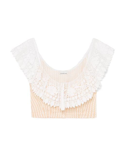 Miguelina - Multicolor Effie Crocheted Gingham Linen Top - Lyst