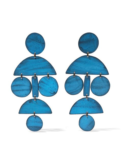 Annie Costello Brown   Blue Pompom Oxidized Earrings   Lyst